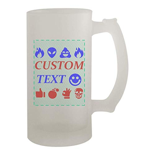 Custom Printed 16oz Frosted Glass Beer Stein Mug Cup CP07 - Add Your Custom Text - Graphic Mug - Fast Shipping