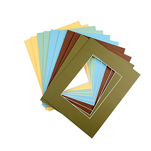 Mat Board Picture Paper Mats Photos 10 Pack 5x7 Size Colorful with White Core Bevel Cut for 4x6 Photos Opening Acid Free Mixed Colors