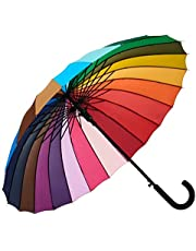 Rainbow Umbrella, Rainbow Umbrella Large, Compact, Windproof, Auto Open, 24K Rainbow Umbrella for Kids, Girls, Women, Men (Hook Handle) (1 Piece)