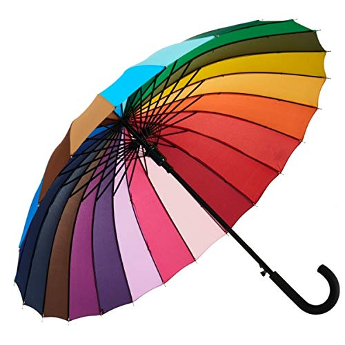 Variety To Go Rainbow Umbrella, Rainbow Umbrella Large, Compact, Windproof, Auto Open, 24K Rainbow Umbrella for Kids, Girls, Women, Men (Hook Handle) (1 Piece) (Cheap Good Umbrella)