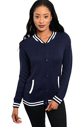 2Luv Womens Ribbed Stripe Trim  Letterman Inspired Jacket Navy   White M L