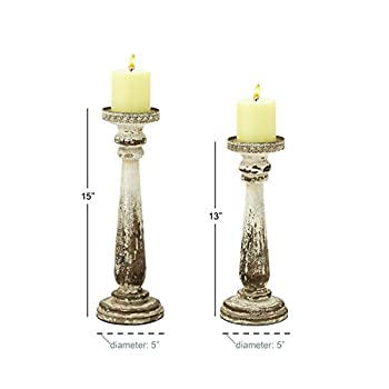 Deco 79 44410 Wood Candle Holder, Set of 2