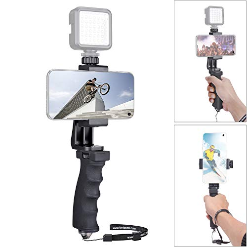 (Portable Smartphone Hand Grip Stabilizer Single Handle Holder Mount We-Media Youtube Livestream Vlog Video Rig /w 360° Rotary Anti-Slip Clamp Compatible for iPhone Samsung Moto Blu Mobile Cell Phone)