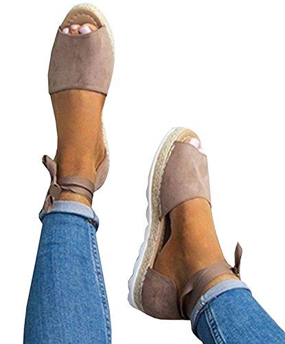 Minetom Damen Sandalen Süßigkeitsfarbe Flache Badesandale Schuhe Flip-Flops Sommer Bequeme Frauen Übergröße Offene Elegante Mode Casual Khaki