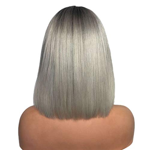 Hot Sale! Women Bob Wigs,Sexy Gradient Gray Cosplay Party Short Straight Hair Mixed Colors Synthetic Wig (Multicolor)