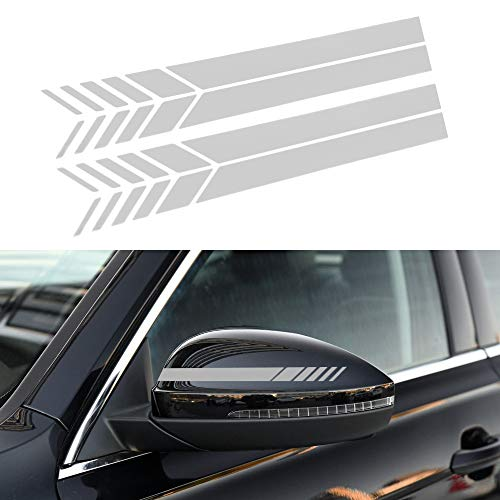 - Senzeal 2PCS Car Rear View Mirror Stickers Decor DIY Car Body Sticker Side Decal Stripe White