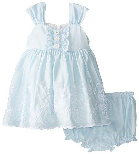 Laura Ashley London Baby Girls' Eyelet Trimmed Dress, Blue, 12 Months