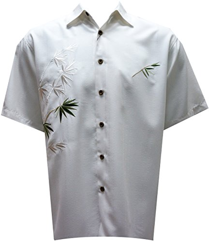 White Woven Bamboo - Bamboo Cay Mens Short Sleeve Flying Bamboos Casual Embroidered Woven Shirt (Small, Off White)