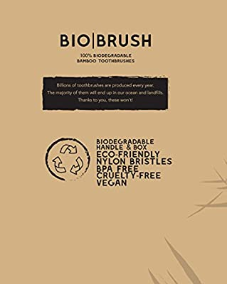 Bamboo Toothbrush by Bio Brush: Biodegradable Wooden Toothbrush With Soft PBA Free Nylon Bristles For Sensitive Gums – Beautiful Eco-Friendly Tooth Brush With Comfortable Handle