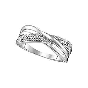10kt White Gold Womens Round Diamond Crossover Band Ring .02 Cttw