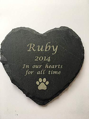 YUUNITY Personalised Engraved Slate Stone Heart Pet Memorial Grave Marker Plaque (Slate Graves Headstones For)