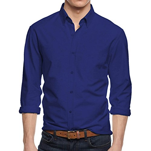 HB Men's Slim Fit Button Down Casual Long Sleeve Dress Shirt  - X-Large / 17-17.5 - Royal Blue Formal Shirt