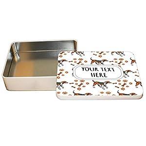 "Style In Print Aluminum Metal Tin Custom American Foxhound Dog Breed Pattern A Adults Trinket Box -4""x6"" 33"