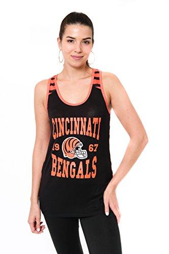 (Icer Brands NFL Cincinnati Bengals Women's Jersey Tank Top Sleeveless Mesh Tee Shirt, Large,)
