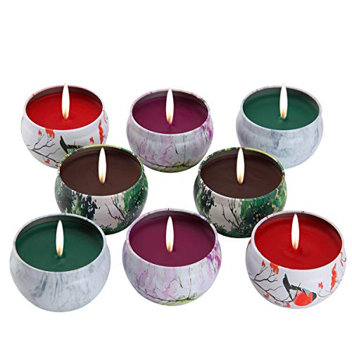KitchenGynti Scented Candles Gift Set - Lavender, Rose, Tea Tree and Peppermint, Candle 100% Soy Wax for Stress Relief and Aromatherapy, Candles - 8 ()