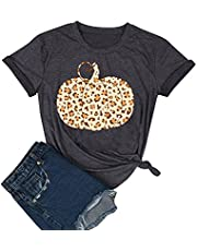 Pumpkin Shirts for Women Halloween T-Shirts Funny Graphic Tees Vintage Leopard Print