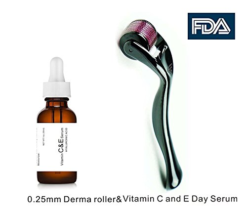 Dermapeel Vitamin C And E Day Serum With Hyaluronic Acid Anti Aging Skin Care Product Anti Wrinkle Serum Will Fill Fine Lines Even Skin Tone And Fade Age Spots Plus 0 25Mm Derma Roller One Sets