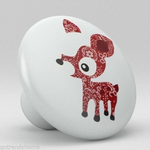 Cute Red Polka Dot Deer Ceramic Knobs Nursery Pulls Kitchen Drawer Dresser 1091 by gotrendyhome