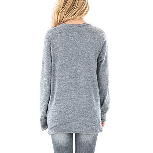 Damen Sweatshirt Strickpulli Bluse Lose T-Shirt Strickware Freizeit Top Pullover