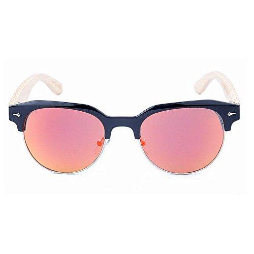 y Fines al Montura Lente para bambú Hombre Gububi Color sin polarizadas Rojo semirreflejo Diario Espejo Aire Negro Libre protección Sol de Adecuado para Gafas Mujer de múltiples Semi Uso UV De q16T41ES