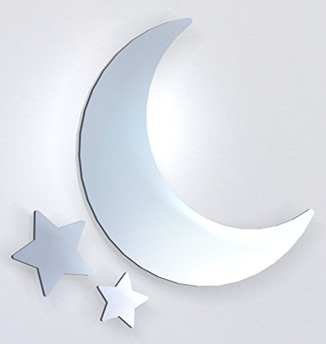 Paranoid Penguin Moon and Stars Mirror, Including Sets for Crafting Kits - - Small Bathroom Mirrors Funky