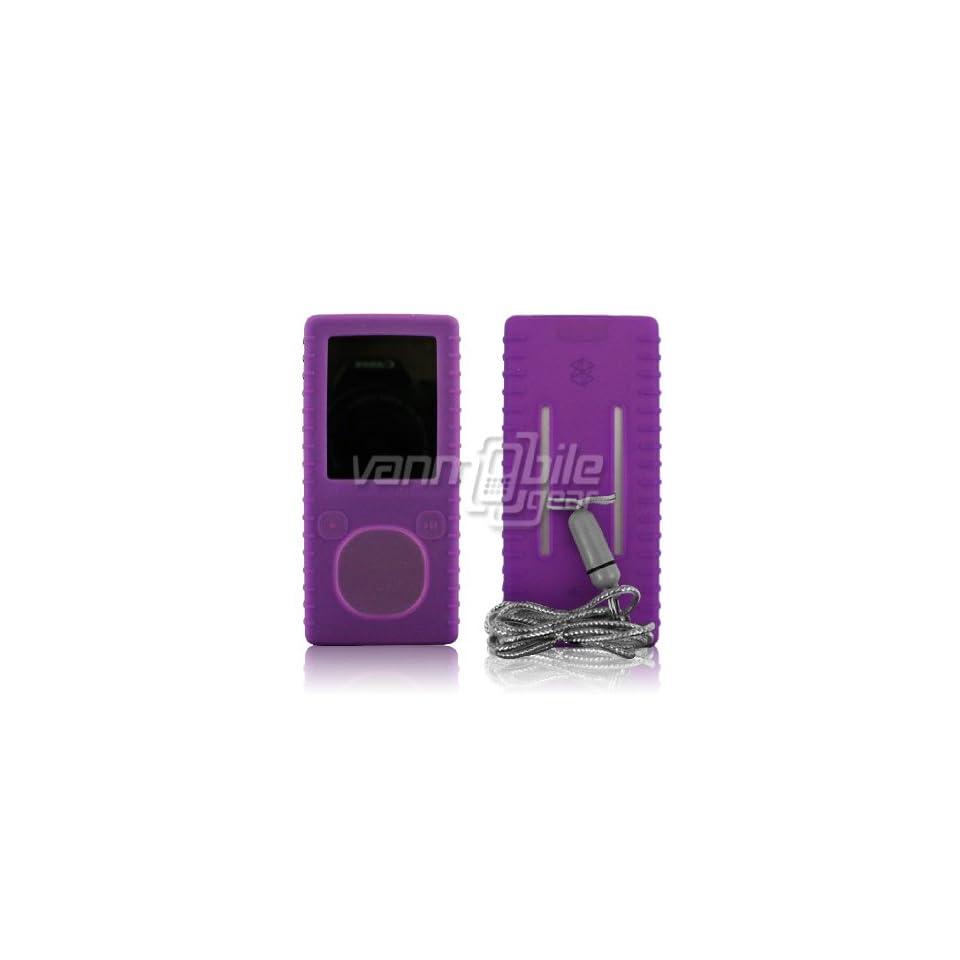 VMG Purple Premium Ribbed Soft Silicone Rubber Gel Skin Case w/ Detachable La