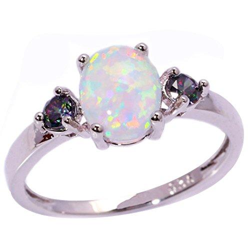 CiNily White Opal Mystic Topaz Women Jewelry Gemstone Silver Ring Size 5-12
