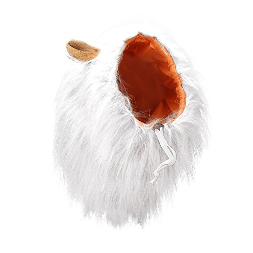 Vivifying Lion Mane Costume, Adjustable Pet Lion Mane Wig with Ears for Medium and Large Dog (White)