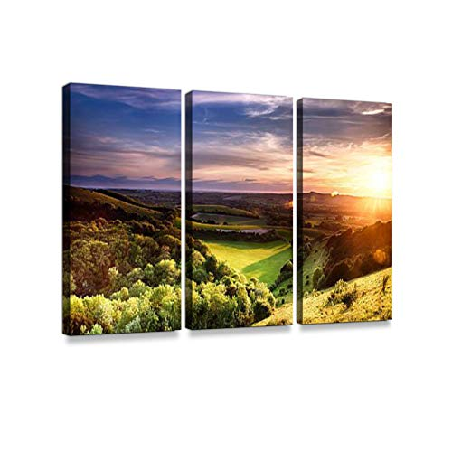 Winchester Hill sunsetPrint On Canvas Wall Artwork Modern Photography Home Decor Unique Pattern Stretched and Framed 3 Piece