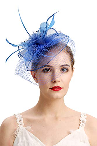 Fascinators Hats for Womens 50s Headwear with Veil Flower Cocktail Wedding Tea Party Church Derby Hat(royal blue)