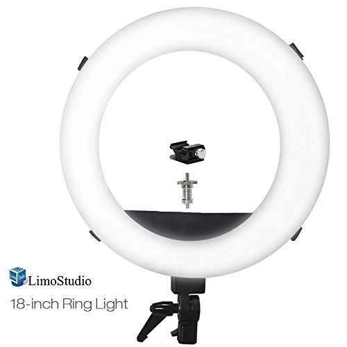 LimoStudio 18'' Dimmable Fluorescent Continuous Ring Light Kit, White Diffuser Cover with Integrated Velcro Straps, Carry Bag for Professional Photo Video Shoot, AGG2375V2 by LimoStudio