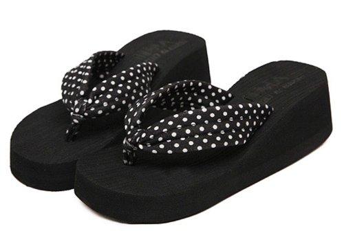 Dayiss®Süß Damenschuhe gepunktet Plateausandaletten Zehntrenner Sandalen Keilabsatz Freizeit Sandaletten Strandschuhe Schwarz