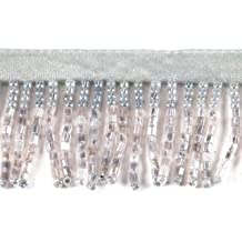 """1"""" Straight Beaded Fringe By Shine Trim - Matte Silver"""