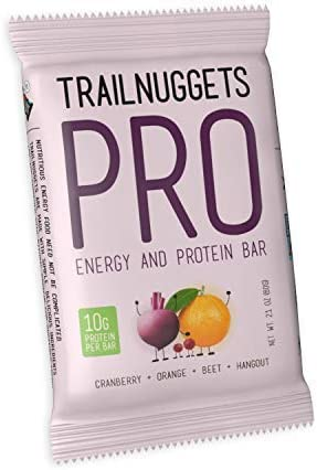 Trailnuggets PRO Protein Energy Bar, Cranberry Orange Beet, Vegan, Non-GMO, Gluten-Free, Dairy-Free, Soy-Free, Plant Based Protein Single 2.1oz bar