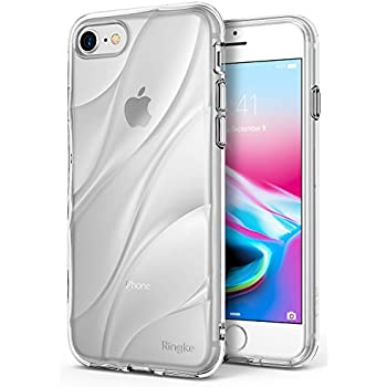 Apple iPhone 8 / iPhone 7 Phone Case Ringke [Flow] Minimalist Wavy Textured Shock Absorption TPU Form Fitting Lightweight Drop Resistant Protection Transparent Design Cover - Clear