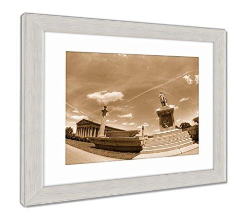 Framed Tn Nashville (Ashley Framed Prints Parthenon in Centennial Park Nashville Tn, Wall Art Home Decoration, Sepia, 34x40 (Frame Size), Silver Frame, AG6465802)