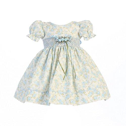Blue Smocked Dress (Lito Baby Girls Light Blue Floral Print Smocked Waist Easter Dress 12-18M)