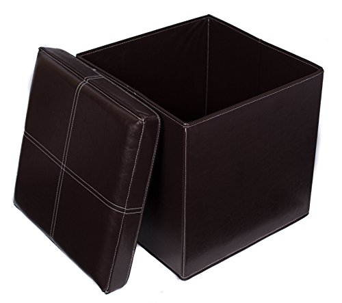BirdRock Home Faux Leather Folding Storage Ottoman | 16 x 16 | Strong and Sturdy | Quick and Easy Assembly | Foot Stool | Brown