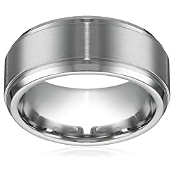 Men's 9mm Cobalt Comfort Fit Plain Wedding Band Finish and High Polished Double Edge