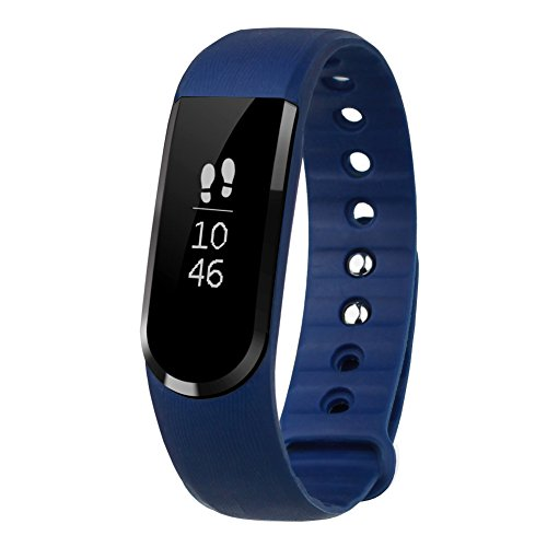 LETSCOM Smart Tracker Watch, Smart Pedometer Bracelet and Sleep Monitor, Bluetooth 4.0 Activity Tracker, IP67 Waterproof Fitness Tracker, OLED Touch Screen Fitness Tracker, Blue