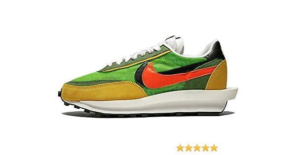 Nike LD Waffle/SACAI Gusto/Safety Anaranjado Suede para Hombre, Verde (Green Gusto/Safety Orange), 37 EU: Amazon.es: Zapatos y complementos