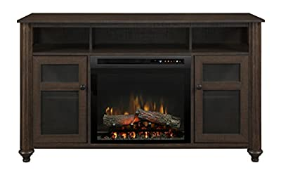 DIMPLEX Xavier Media Console Electric Fireplace with Logs Warm GRAINERY BROWN/1500