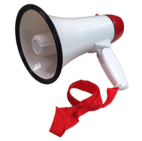 Ideas In Life Portable Megaphone 20 Watt Power Megaphone Speaker Bullhorn Voice and Siren/Alarm Modes with Volume Control and Strap ()