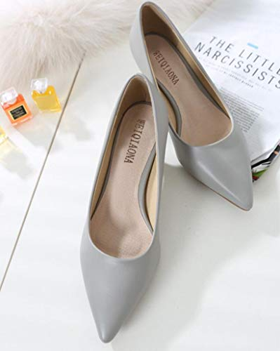 4' Stiletto High Heel - Woman Shoes Genuine Leather Inside Low Heels Women Pumps Stiletto Women's Work Shoe Pointed Toe Wedding Shoes,Gray,US6