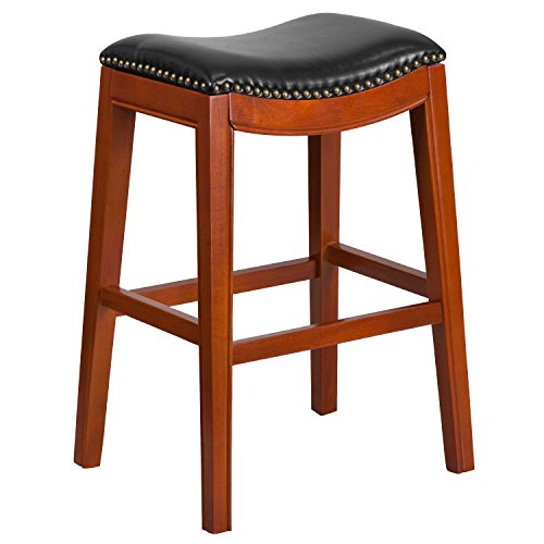 (MFO 30'' High Backless Light Cherry Wood Barstool with Black Leather Seat)