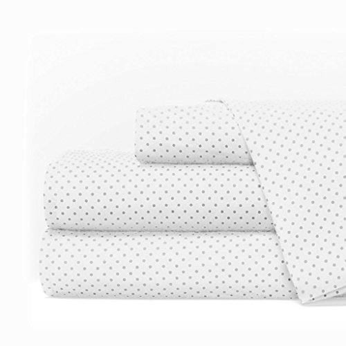 Egyptian Luxury 1600 Series Hotel Collection Pindot Pattern Bed Sheet Set - Deep Pockets, Wrinkle and Fade Resistant, Hypoallergenic Sheet and Pillowcase Set - Queen - White/Light Gray (4 Piece Italian)