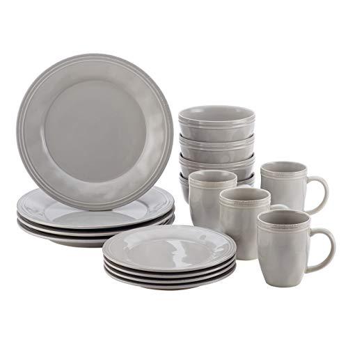 Multi Colored Dishes (Rachael Ray Cucina Dinnerware 16-Piece Stoneware Dinnerware Set, Sea Salt Grey)