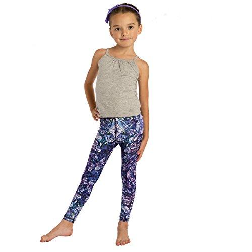 Designer Diamante Pink Flower (MONASITA Girls Print Leggings For Active Kids (6X, Feeling Blue))
