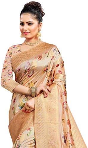 Krishna Sarees FAS20034 Peach and Floral Indian Bollywood Pakistani Designer Party Wedding Faux Art Silk Banarasi Sarees Sari -with Unstitched Blouse