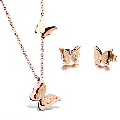 Butterfly Necklace Earrings Set - BAFOME 18k Rose Gold Stainless Steel Butterfly Jewelry Set Necklace Ring Stud Earrings Best Gift for Women Girl (Stud Earrings+Necklace)